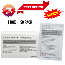 50Pack Card Reader Cleaning Slot Id Credit Atm Magnetic Header Cleaner Dual Side