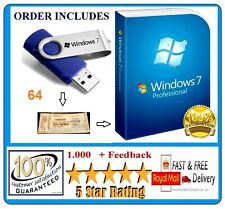 Windows 7 Professional 64-Bit USB Bootable SP1 Full & CoA Key License PRO 10