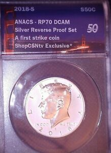 2018 S Kennedy Silver Reverse Proof ANACS RP70 DCAM FIRST STRIKE 50(C) SILVER