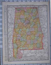 Mapa de 1906 Estados Unidos Alabama condados & ciudades Birmingham Morgan Wilcox