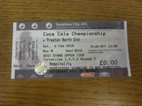 06/02/2010 Ticket: Swansea City v Preston North End  . Thanks for viewing this i