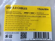 15cm slim SuperSpeed USB 3.0 A to Micro B Cable M/M