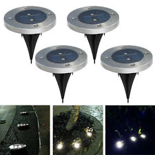 4PCS Solar LED Stainless Steel Lamp Garden Path Deck Landscape Outdoor Lights
