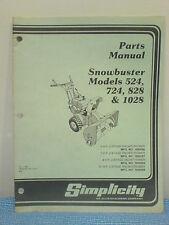Simplicity 524, 724, 828, 1028 Snowthrower Parts Manual Tp-825 Original! 1980