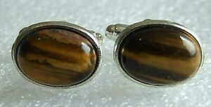 Genuine Brown Tiger's Eye Gemstone Silver Plated Cufflinks in Black Gift Pouch