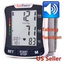 Wrist Blood Pressure Monitor Machine BP Cuff Heart Beat Rate Pulse Talking Meter