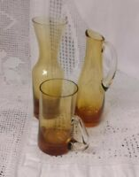 Set Of 3 Small Vintage Art Deco Amber Vases