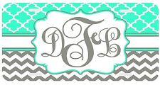 Personalized Monogrammed License Plate Auto Car Tag Clover Chevron Gray Mint