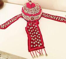 CHAPEAU kuchi afghan Tribal perlé Rouge L RARE Ethnique tête Gear déguisement