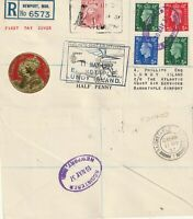 LUNDY 10 MAY 1937 GB DEFINITIVES FIRST DAY COVER LUNDY TO BARNSTAPLE AIRPORT