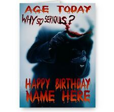 Personalised Name, Age, Why So Serious, Batman, Joker, A5, Happy Birthday Card