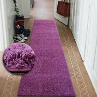 Modern Hall Runners soft SHAGGY Carpet 5cm Violet Width 50-200cm long RUGS