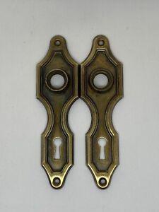 "Qty 2 1930's Art Deco Doorknob Back Plates Matching measuring 5.5"" x 1.5"" inches"