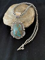 MENS Native Amer Sterling Silver Turquoise #8 Pendant Navajo Pearl Necklace 210