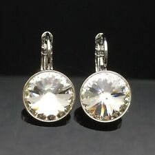 Genuine SWAROVSKI ELEMENTS Clear Crystal Earring Wedding Silver 13mm Large