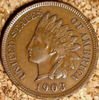 1903 Indian Head Cent - SHARP AU+ EXAMPLE - AS IN PHOTOS  (K389)