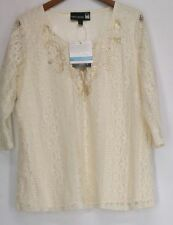 Antthony Top XL 3/4 Sleeve Lined Lace Top Ivory NEW NWT