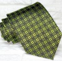 Necktie men Dark green geometric tie Made in Italy 100% silk Morgana brand