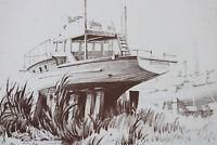 Vintage Print BOAT on the hard DRY sketch drawing black white nautical marine