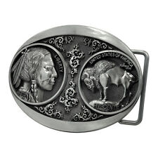 Silver Buffalo Coin Belt Buckle Hunting Native American Head Cool Unique