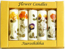Auroshikha Flower Candles Boxed Set (5) Handcrafted India Natural Essential Oils