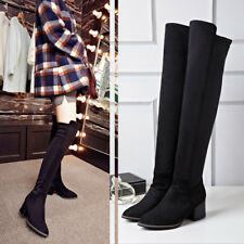 Fashion Women Block Heels Over The Knee Boots Thigh Long Faux suede Kngith Shoes