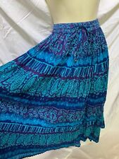 CM SHAPES Boho Blue Print Drawstring Cotton Skirt 2X 3X Plus Size