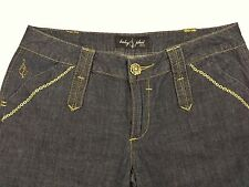 BABY PHAT Womens JEANS Size 9 BOOT CUT Jeweled Buttons GOLD EMBROIDERY Cat Logo