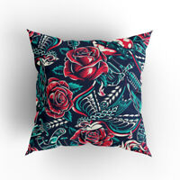 Cushion Cover 40 x 40cm With Unique Full Print Tattoo Style Design EU Made