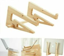 Laptop Stand Wood Holder Increased Height For Macbook 13 15 Inch Vertical Base