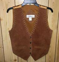 VTG Jane Asley Western Suede Leather Vest Sz PM Brown Boho Hippie Whip Stitch