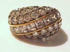 Gold Plate Sterling Silver 2.5CT DQ Princes CZ's Cocktail Ring 6.1g Sz 8.5