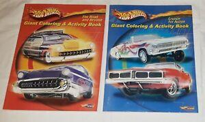 2 HOT WHEELS COLORING BOOKS, 2001 Mattel Activity Book, Hot Wheels.com
