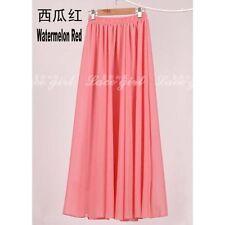 Women Adult Teen Double Layer Chiffon Long Maxi Elastic Waist Skirt Dress