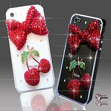NEW 3D DELUX LUXURY BLING RED BOW CHERRY DIAMANTE CASE 4 IPHONE SAMSUNG SONY HTC