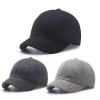 Winter Wool Baseball Cap Short Brim Adjustable Snapback Hat Unisex Blend Caps