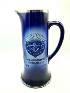 RARE 1913 MASONIC NORTHERN NO. 25. F. & A.M. NEWARK NEW JERSEY LARGE PITCHER