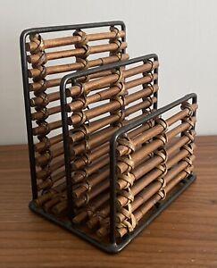 Vintage Retro Letter rack wicker rattan bamboo metal frame paper holder Boho