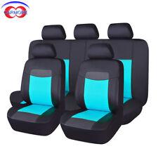 11 PCS Faux Leather Universal Seat Covers Waterproof Blue fit Car TruckSUV van