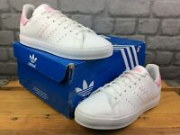 ADIDAS LADIES UK 5 EU 38 WHITE BLOOM PINK STAN SMITH LEATHER TRAINERS RRP £70 M