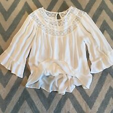 S New ANTHROPOLOGIE Women's Boho White Flowy Peasant Lace Blouse Top Size SMALL