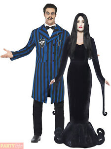 Mens Ladies Gomez Morticia Couples Costume Adult Halloween Fancy Dress Outfit