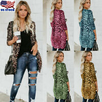 Women Autumn Casual Leopard Print Cardigan Jacket Coat Button Down Outwear Tops