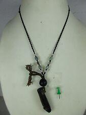 Old PHALLUS BRONZE Dicky Amulet Jade Necklace Thailand ~ 1950/77 g heavy