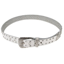 Women Mens Leather Belt Fashion Rhinestone Crystal Belt Adjustable Waistband