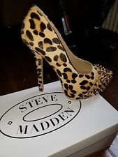 womens steve madden real fur printed studd cow hair leahter heels size7m