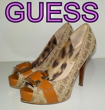 """Luxury  """"GUESS""""  Brown  Leather Pumps Court Shoes UK 3.5   EU 36.5  £105"""