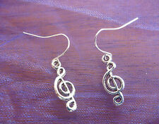 Silver Tibetan Music Treble Clef Trebleclef Drop Earrings. Free Shipping