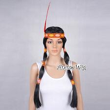 Halloween Indian Braids Women Black Long Fancy Hair Straight Cosplay Party Wig