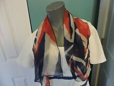 Vintage Multi Color Red White Blue Boho Scarf Wrap Hair Net 39 X 13 1/2